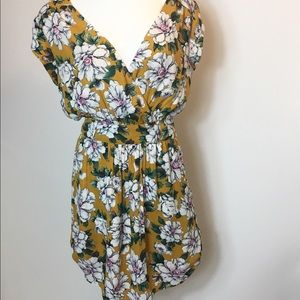 DR2 floral mustard dress size zip small